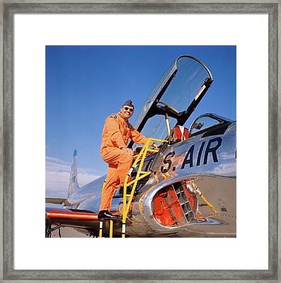 1960s 1970s Smiling Military Pilot Framed Print