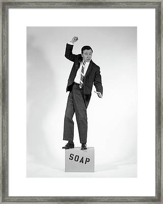 1960s Angry Man In Suit On Soapbox Framed Print