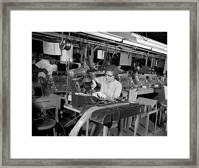 1960s Assembly Line For Wiring Of Color Framed Print
