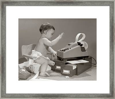 1960s Baby Seated In Small Chair Framed Print