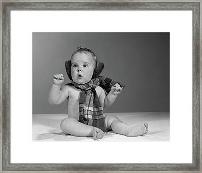1960s Baby Sitting Up Wearing Winter Framed Print