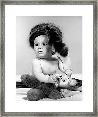 1960s Baby Wearing Coonskin Hat Framed Print