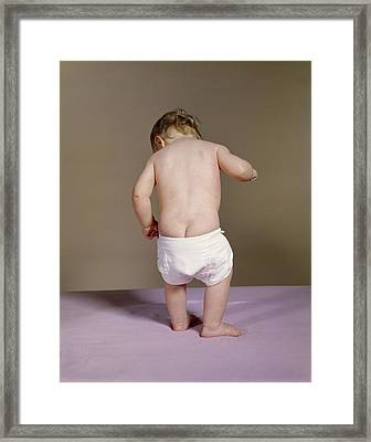1960s Baby With Droopy Diaper Framed Print