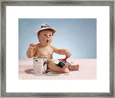 1960s Baby With Funny Facial Expression Framed Print