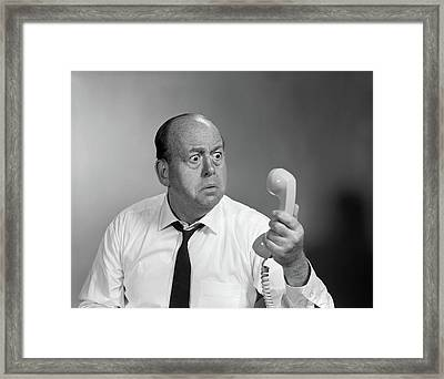1960s Balding Man Looking Angry Framed Print