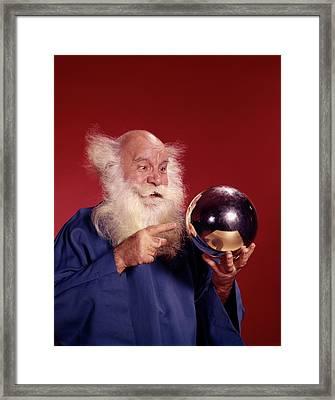 1960s Balding White Haired Man In Robe Framed Print