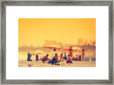 1960's Beach Watercolor 02 Framed Print by Mark Hazelton