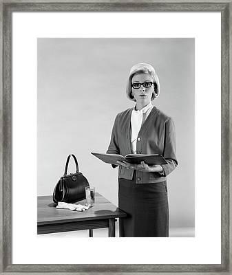 1960s Blond Woman Speaker Standing Framed Print