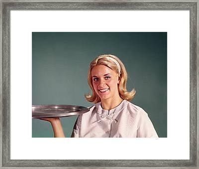 1960s Blonde Woman Waitress Holding Framed Print