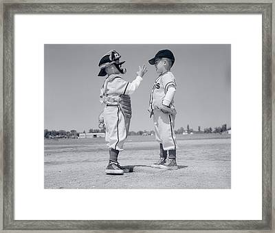 1960s Boy Little Leaguer Pitcher Framed Print