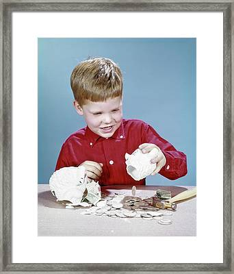 1960s Boy Wearing Red Shirt Breaking Framed Print