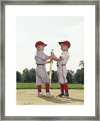 1960s Boys Children Baseball Sports Framed Print