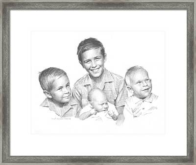 1960s Brothers Pencil Portrait  Framed Print