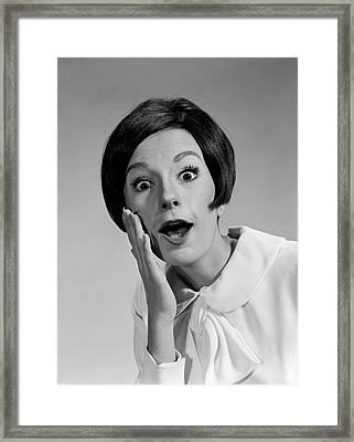 1960s Brunette Woman Mouth Agape Eyes Framed Print