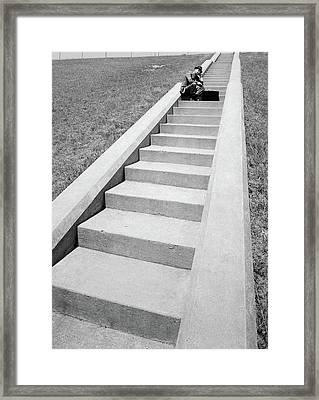 1960s Businessman Crouched In Middle Framed Print