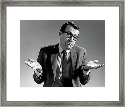 1960s Businessman Shrugging Shoulders Framed Print