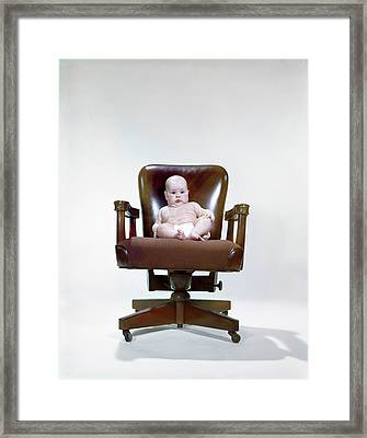 1960s Chubby Baby In Diaper Sitting Framed Print