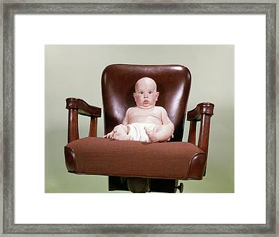 1960s Chubby Bald Baby Wearing Cloth Framed Print