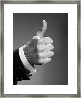 1960s Close-up Of Hand Making Thumbs-up Framed Print