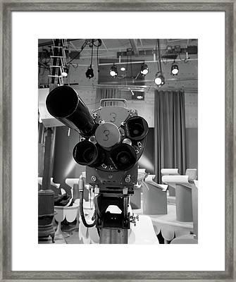 1960s Close-up Of Tv Camera Lenses Framed Print