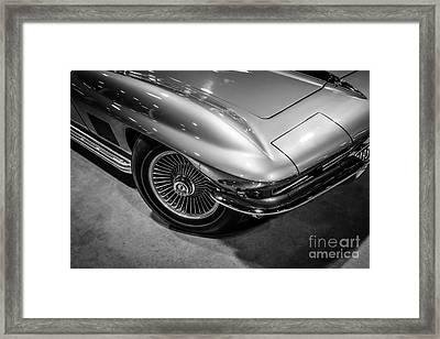 1960's Corvette C2 In Black And White Framed Print