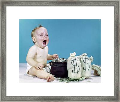 1960s Crying Shouting Baby With Money Framed Print