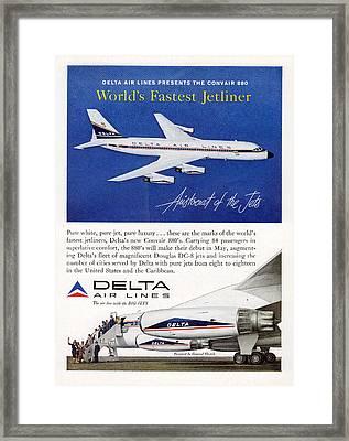 1960s Delta Convair 880 Ad Framed Print