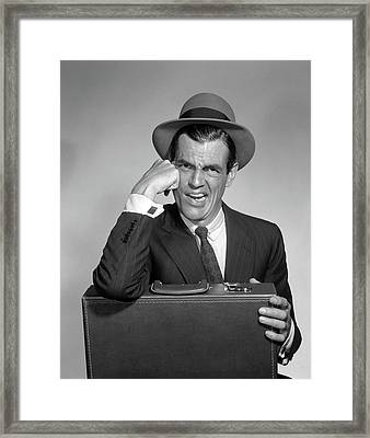 1960s Disgusted Angry Upset Man Framed Print