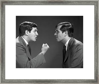 1960s Double Exposure Man Talking Angry Framed Print