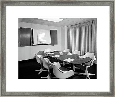 1960s Empty Conference Room Long Oval Framed Print