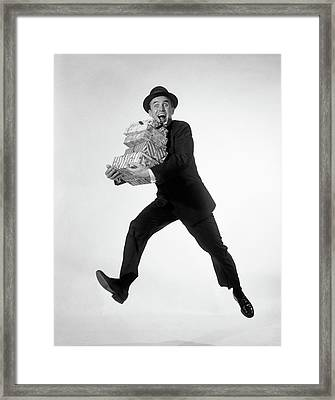 1960s Excited Enthusiastic Man Jumping Framed Print