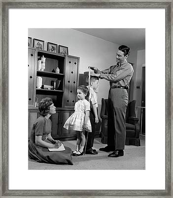 1960s Father Measuring Daughter & Son Framed Print