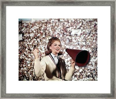 1960s Female Cheerleader Cheering Red Framed Print