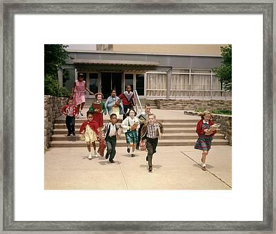 1960s Group Of School Children Running Framed Print