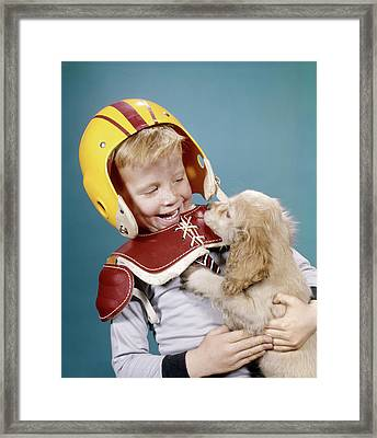 1960s Happy Laughing Boy In Football Framed Print