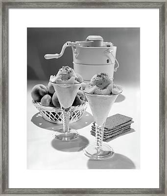 1960s Ice Cream Machine Home Made Peach Framed Print