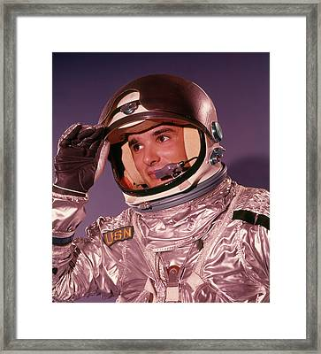 1960s Man Astronaut Lifting Up Visor Framed Print