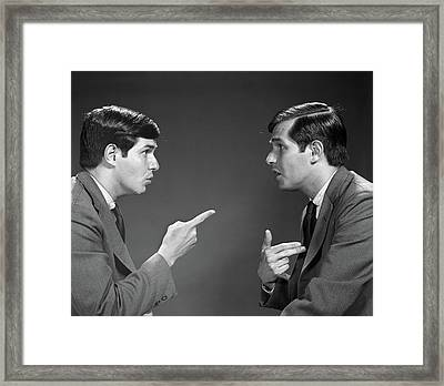 1960s Man Double Exposure Talking Framed Print