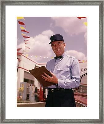1960s Man Gas Service Station Mechanic Framed Print