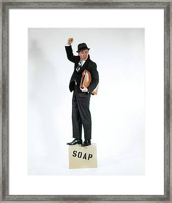 1960s Man In Business Suit Holding Framed Print