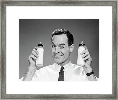 1960s Man In Shirt And Tie Winking Framed Print