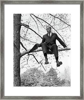 1960s Man In Tree Branch Limb Framed Print
