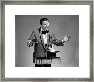 1960s Man Magician Wearing Tuxedo White Framed Print