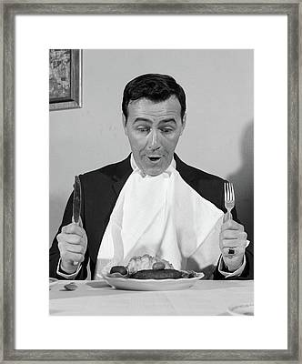 1960s Man Sitting At Table Ready To Eat Framed Print