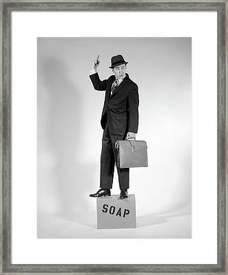 1960s Man Standing On Soap Box Holding Framed Print