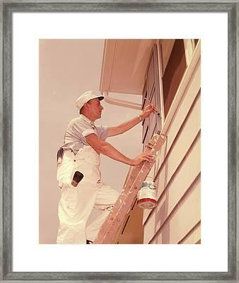 1960s Man Up Ladder Painting Window Framed Print