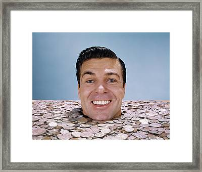 1960s Mans Face Head Buried Up To Neck Framed Print