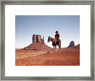 1960s Navajo Man On Horse Monument Framed Print