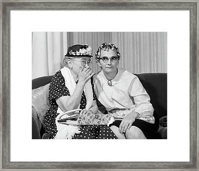 1960s Older Women On Couch Sharing Framed Print