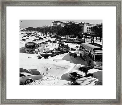 1960s Overhead View Of Cars And Buses Framed Print